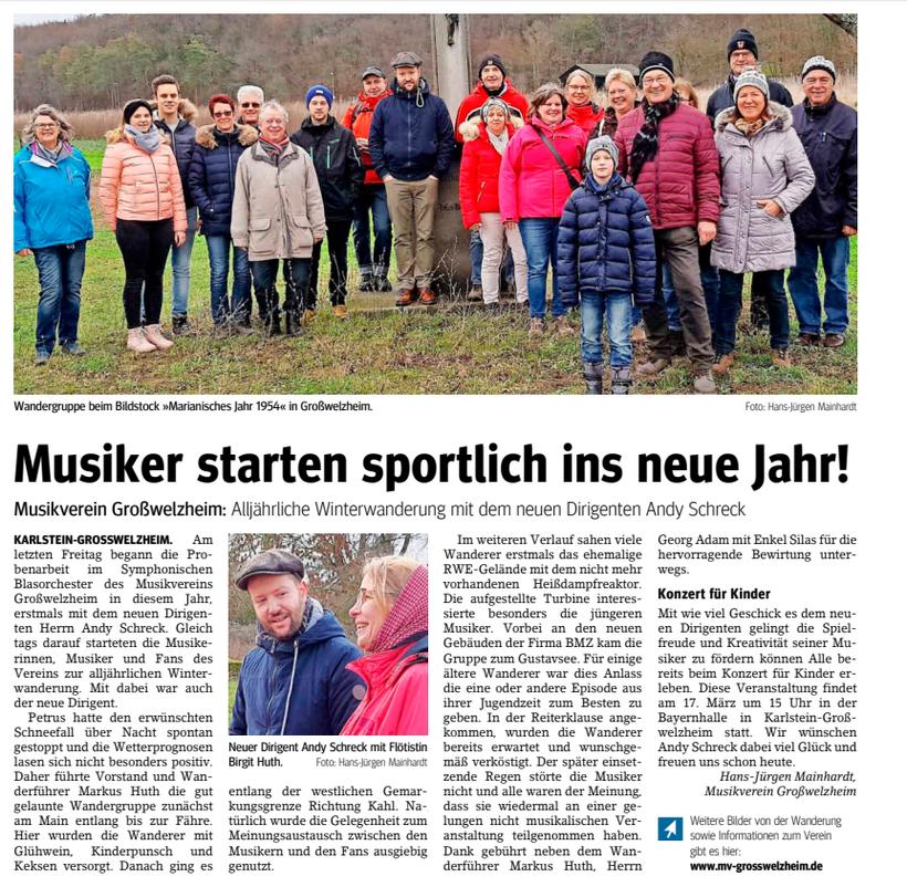 Winterwanderung 2018, Unser Echo v. 18.01.2019