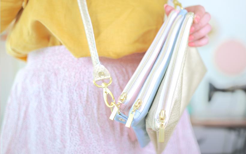 Trio-Bag nähen: Handtasche aus drei zusammengenähten Fächern aus Kunstleder mit Reißverschluss und Ziwschenfächern. Kostenlose Nähanleitung – nähen ohne Schnittmuster von DIY Eule. Perfekte kleine Handtasche für den Frühling mit DIY Paspel Henkel.