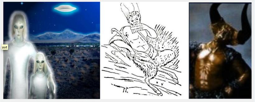 A gauche : Imdugud.                                                                              Au centre et à droite : Kingú-rouges