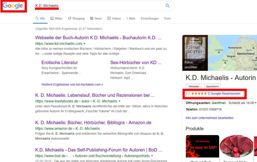 Screenshot Google-Suche K.D. Michaelis mit Google´-Rezensionen