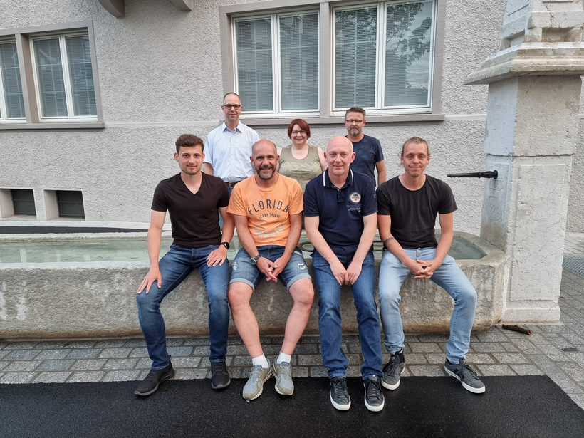 Von links: Boris Kellerhals, Yvan Grepper, Martin Burkhard, Patricia Scussolin, Andreas Rogenmoser, Matthias Ulrich