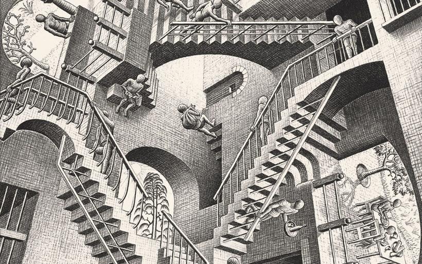"""M.C. Escher, """"Relatività"""" (1953)"""