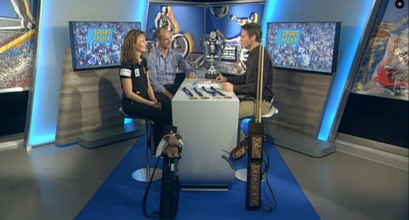 Daniel Schöpf mit Karin Michl am 02.11.2015 in der Sport Arena bei münchen.tv