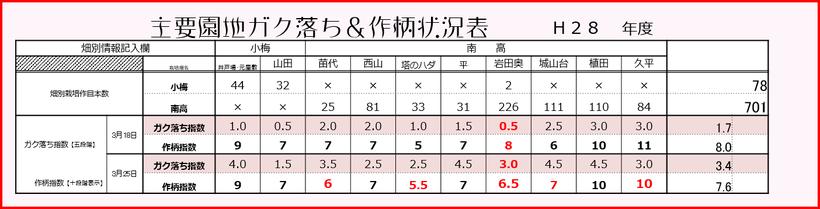 2016梅作柄&ガク落ち状況表 【2016.3.25】 和×夢 nagomu farm