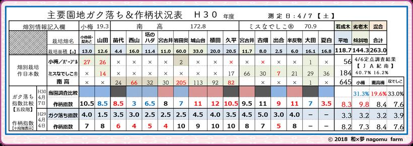 梅園地別ガク落ち&作柄指標【2018清明】 和×夢 nagomu farm