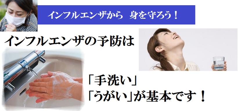 インフルエンザから身を守ろう!インフルエンザの予防対策は、手洗い、うがいが基本です。