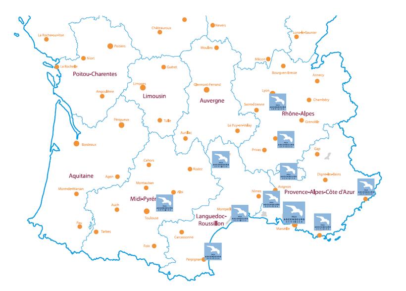 La Localisation de toutes les agences de PACA Ascenseurs Services.