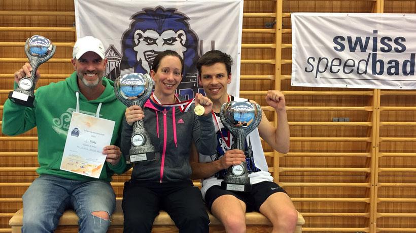 Schweizermeister Einzelkategorien 2019 - Andreas Wolner-Hanssen (Senioren 40+), Claudine Boyer (Damen), Stefan Zedi (Herren)
