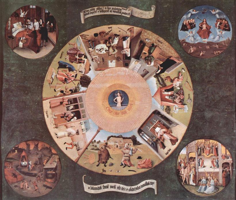 Hieronymus Bosch, Die Sieben Todsünden und die vier letzten Dinge. Um 1495–1520