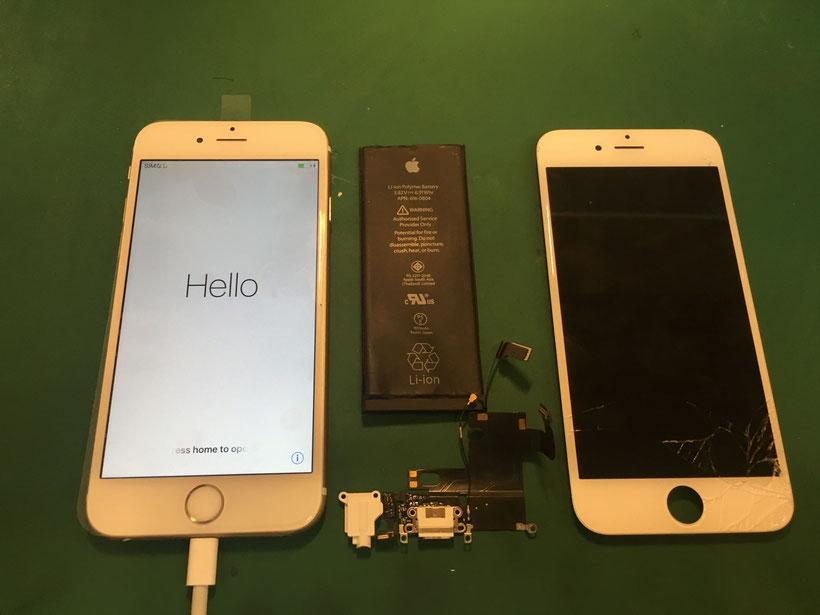 iPhone6S画面に充電口と電池交換
