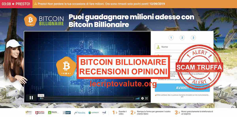 Bitcoin Billionaire recensioni opinioni: Truffa o Funziona