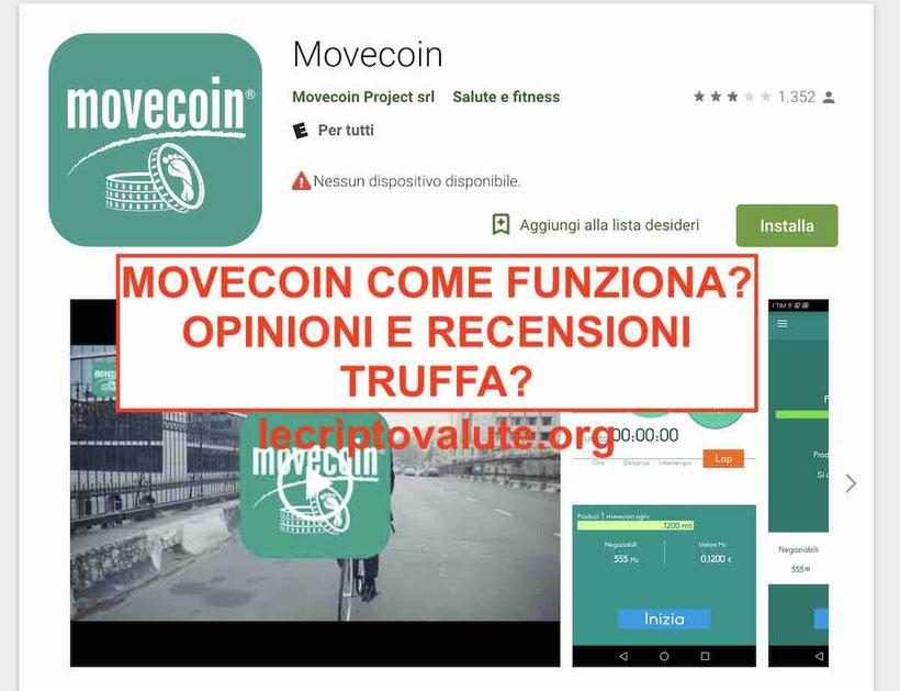 MoveCoin come funziona App truffaForum: opinioni recensioni negozi amazon