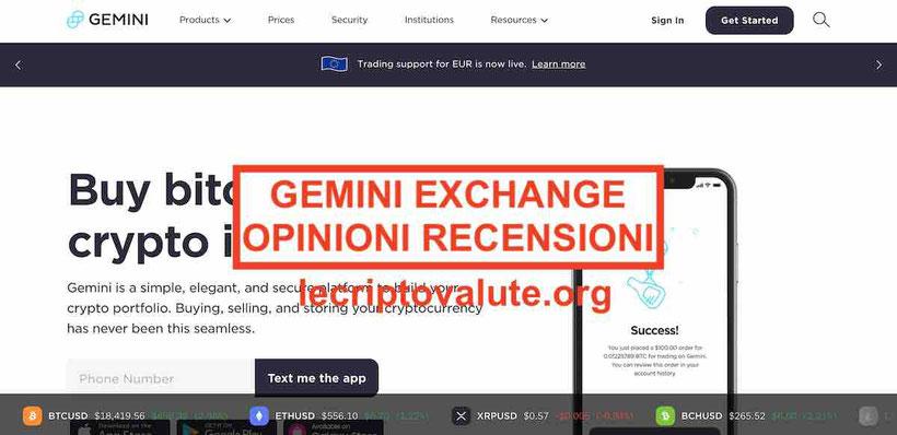 Gemini Exchange criptovalute recensioni opinioni truffa o funziona