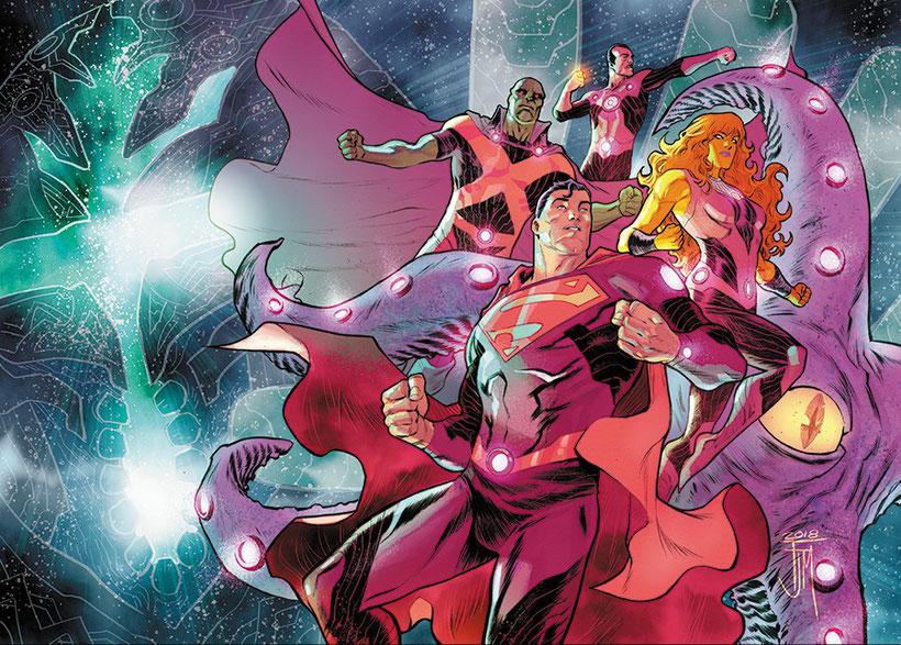 Superman, Martian Manhunter, Sinestro, Starfire und Starro als Team Mystery.