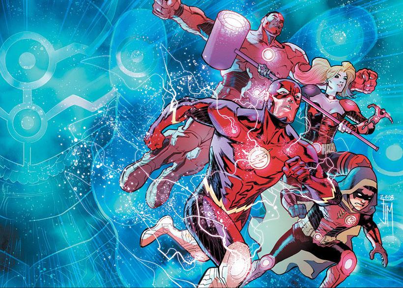 Flash, Robin, Cyborg, Atom und Robin als Team Wisdom.