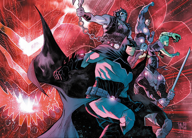 Batman, Lobo, Lex Luthor, Beast Boy und Deathstroke als Team Entropie.