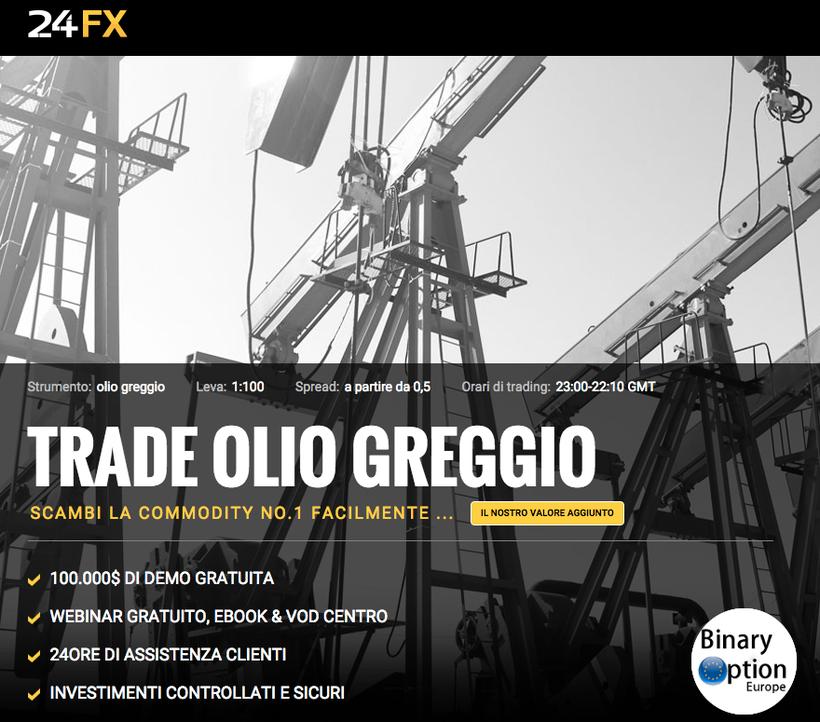 24FX fai trading sul petrolio greggio con spread bassi