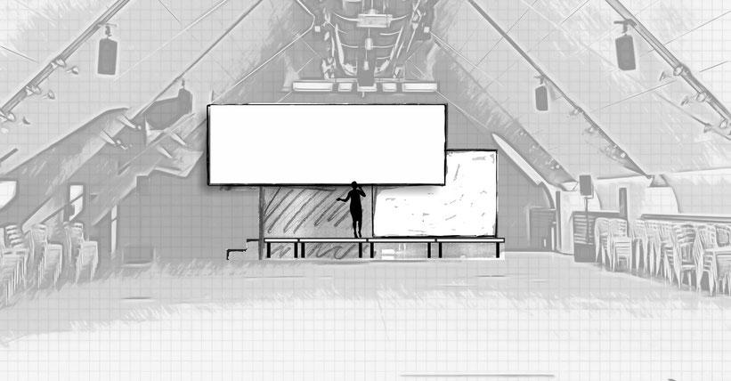 Bühnenentwurf Kunstpreis Dachfoyer Hofburg v3, © Christian Gallei, 2016-11-02