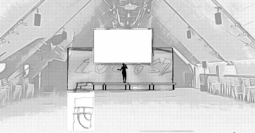 Bühnenentwurf Kunstpreis Dachfoyer Hofburg v5, © Christian Gallei, 2016-11-02