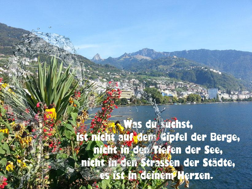 Was du suchtst, ist nicht auf dem fipfel der Berge. nicht in den Tiefen der See, nicht in den Strassen der Städte, es ist in deinem Herzen