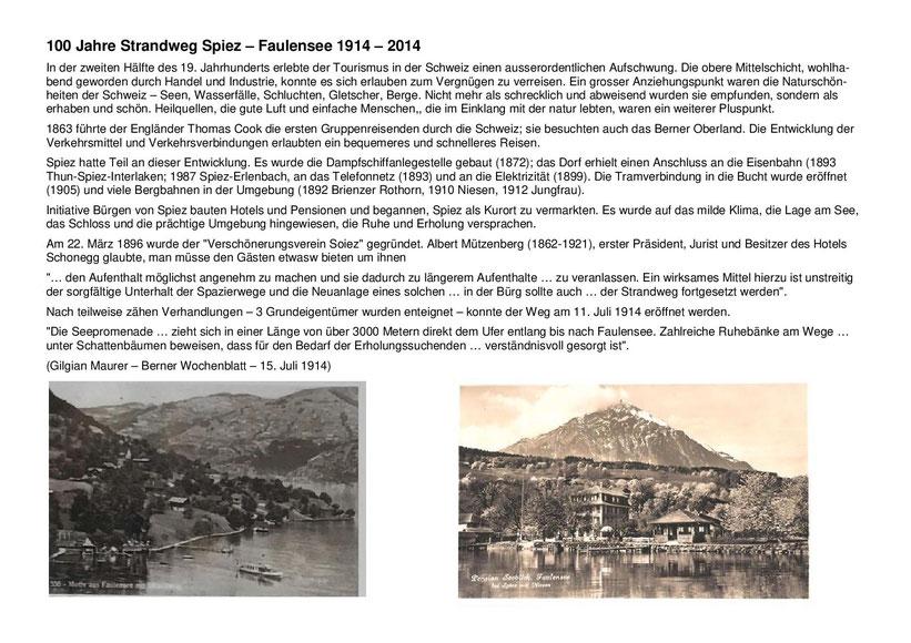 100 Jahre Strandweg Spiez - Faulensee 1914 - 2014