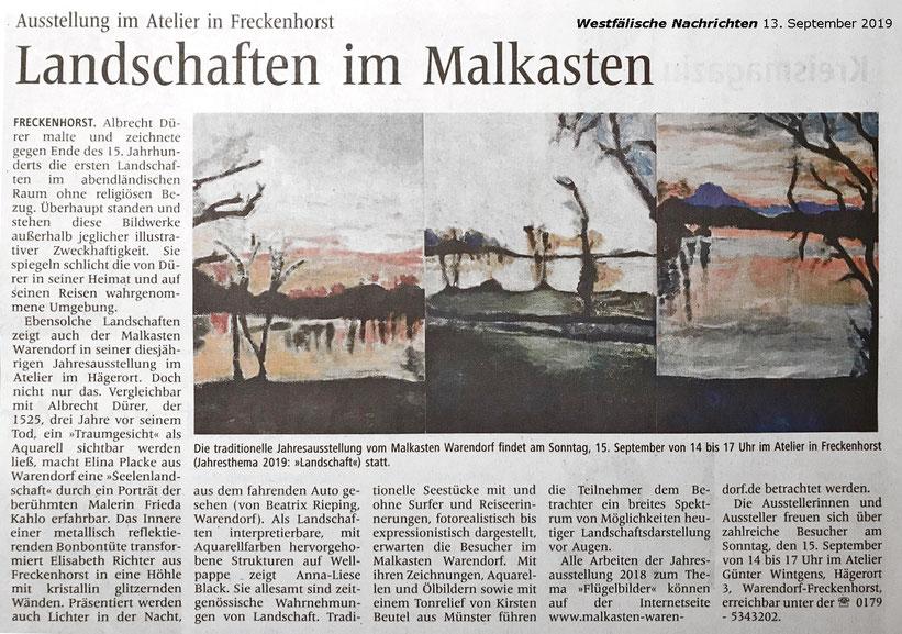 Beate Hannig-Grethlein malt und zeichnet im  Künstleratelier Malkasten Warendorf in Freckenhorst