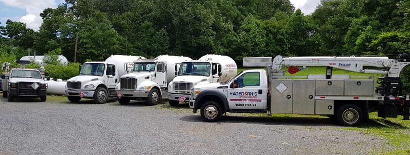 Hagedorn's propane delivery trucks in Morgantown, WV