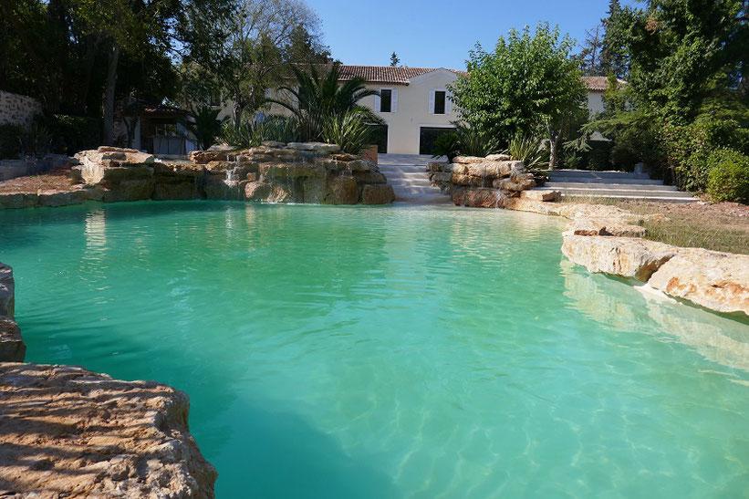 piscine naturelle dans chateau