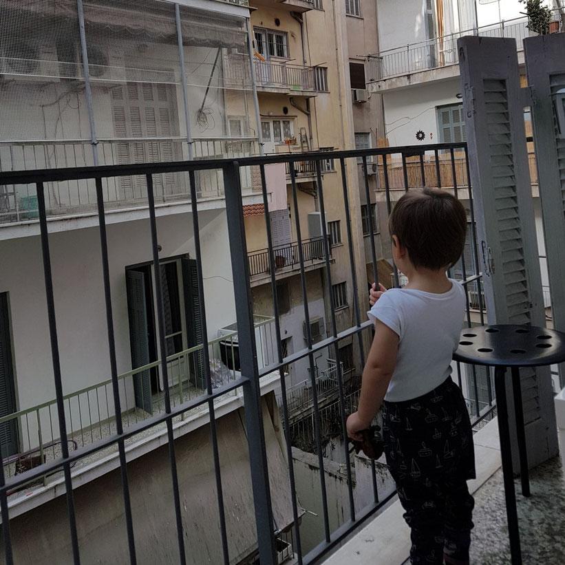 Nunu erkundet die Nachbarschaft von unserem Balkon aus