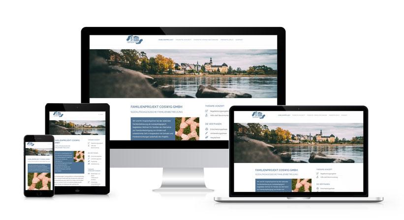 Webseitengestaltung für die Familienprojekt Coswig Anhalt GmbH