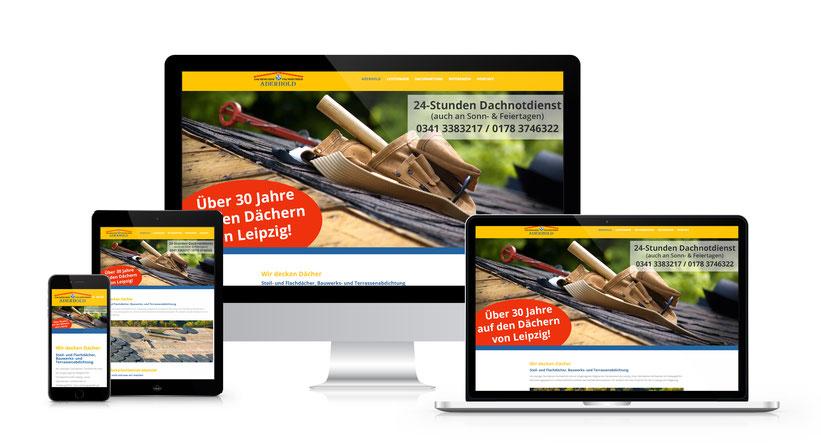 Webseitengestaltung für den Dachdeckerfachbetrieb Jens Aderhold aus Leipzig (Erstellt mit Wordpress)