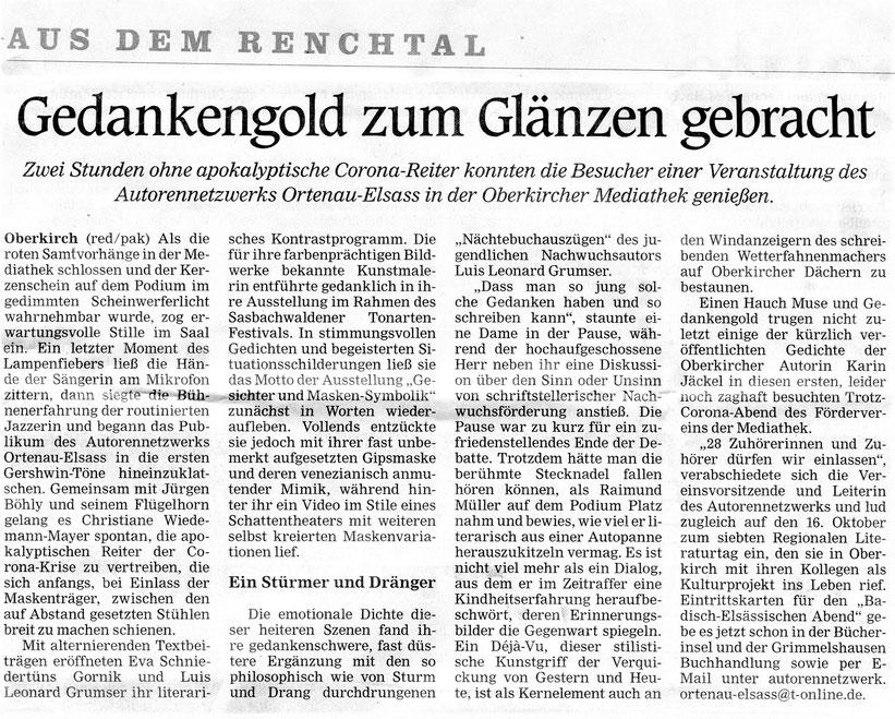 Mittelbadische Presse ARZ Oberkirch am 6. 10. 2020