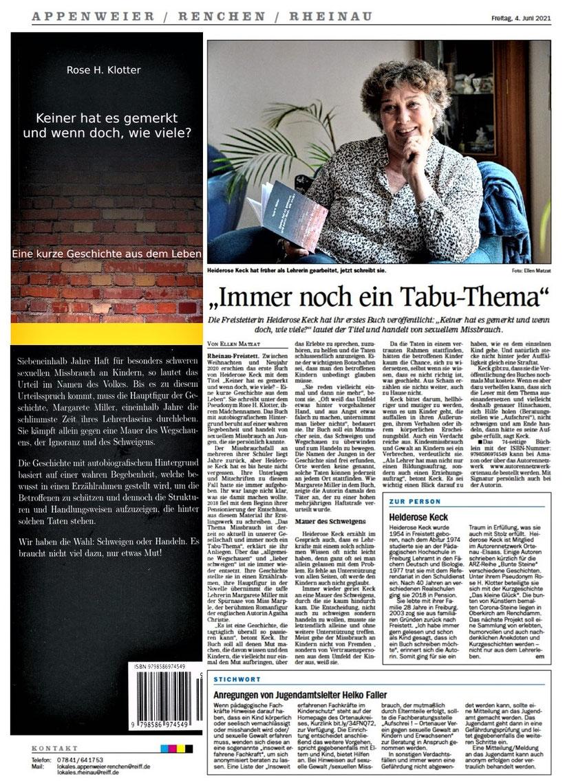 Mittelbadische Presse, ARZ, Ellen Matzat, 4. Juni 2021