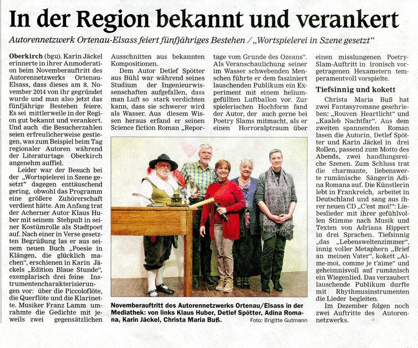 Mittelbadische Presse ARZ Oberkirch am Dienstag, 19. November 2019
