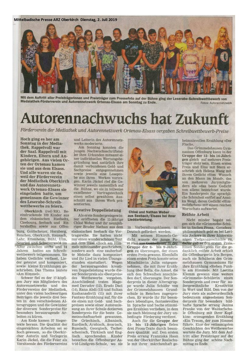 Mit Dank für die freundliche Abdruckserlaubnis der ARZ Oberkirch.