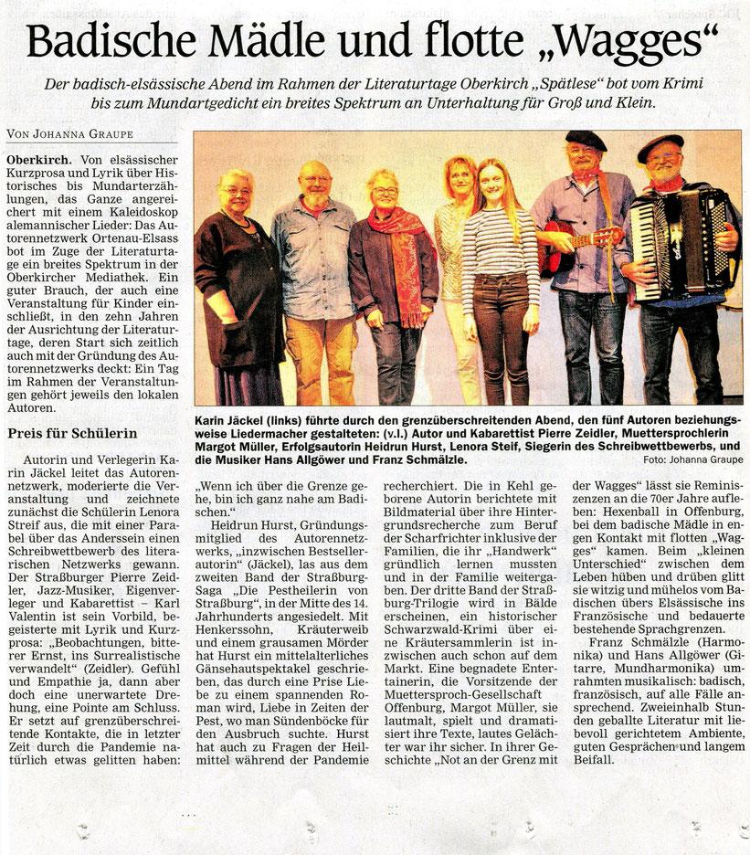 Mittelbadische Presse, Reif Medien, Kultur, am 18. 10. 2021