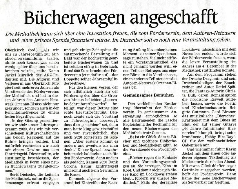 Mittelbadische Presse ARZ Oberkirch 9. Nov. 2020