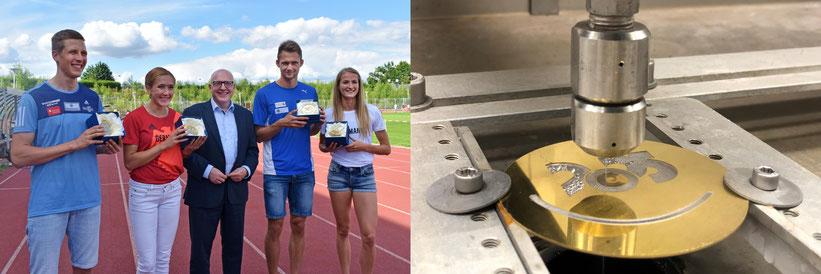 Olympische Spiele Tokio 2020 Chemnitzer Athlet_innen Suspensionsstrahl Wasserstrahlanlage EcoWASP1500 von NOVAJET schneidet Medaillen aus Messing-Glas
