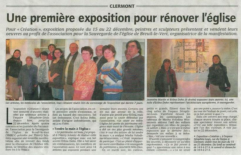 15 au 22 décembre 2010 - exposition de peintures à Clermont organisée par l'association pour la sauvegarde de l'église Saint Martin de Breuil le Vert (SMBLV).