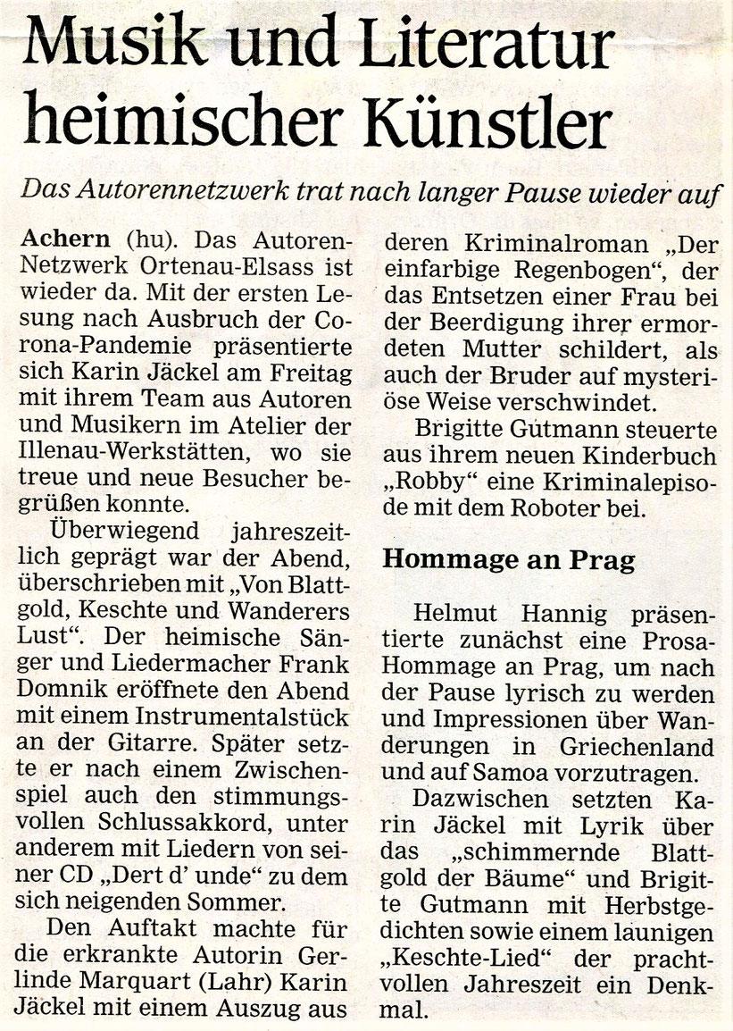 Mittelbadische Presse ARZ am 22.9.2020