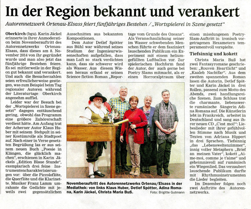 Mittelbadische Presse ARZ Oberkirch am 19. November 2019