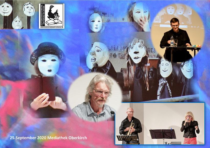 Foto AutorenNetzwerk Ortenau-Elsass -  Masken und Maskencollage Eva Schniedertüns Gornik