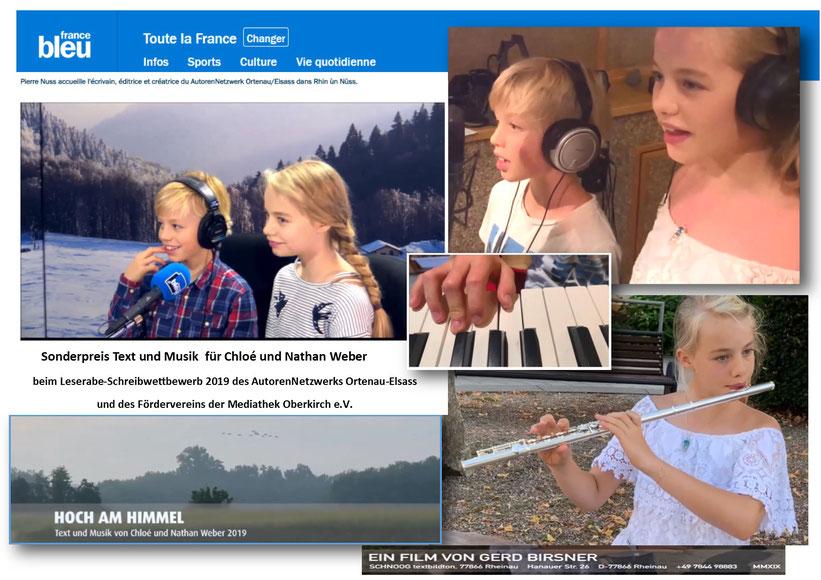 Chloé und Nathan Weber im Studio Radio France Bleu Alsasce in Straßbourg am 20. November 2019      Foto privat