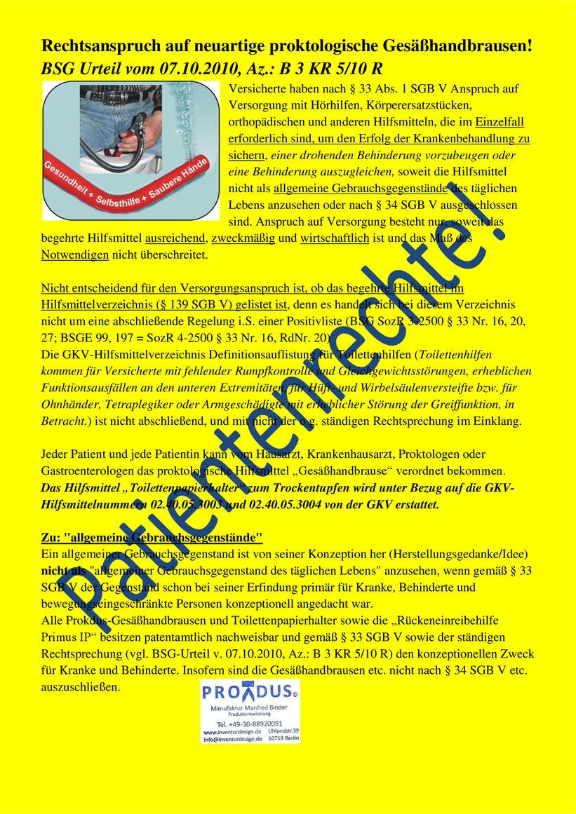 BSG Urteil vom 07.10.2010, Az.: B 3 KR 5/10 R. Analhygiene. Patientenrechte. Gesäßhandbrausen. Hilfsmittel.  Prokdus Manufaktur