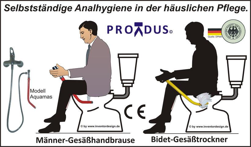 Männergesundheit. Gesäßhandbrause. Analhygiene. Hämorrhoiden. Verstopfung. Pruritus ani. Analekzem.  Proktologe.
