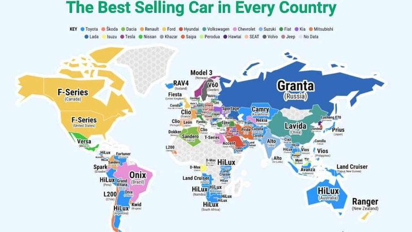 coches mas vendidos por paises - los autos mas vendidos por pais