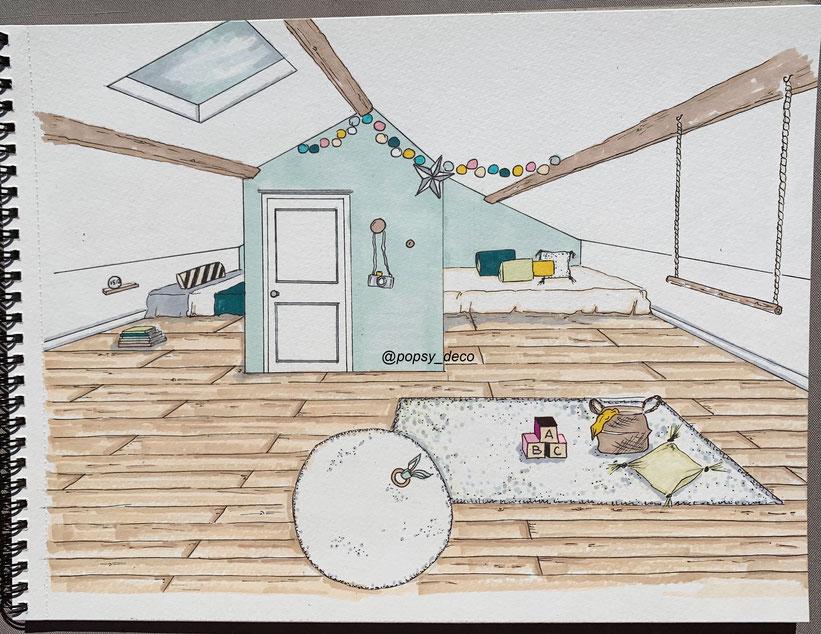 chambre enfant mansardée moodboard inspiration décoration mint moutarde fille garçon rotin osier dessin 3D sketchup dessin à la main feutre alcool tapis shaggy poutres apparentes