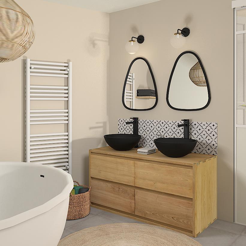 Décoration location saisonnière, ancien garage, salle de bain, carreaux de ciment, aménagement intérieur