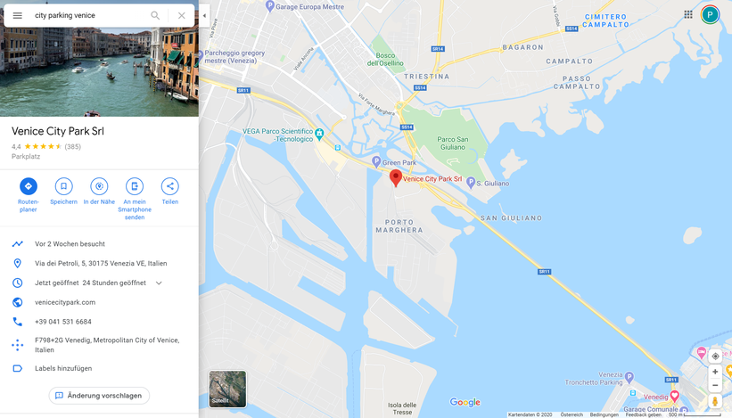 Günstig Parken in Venedig