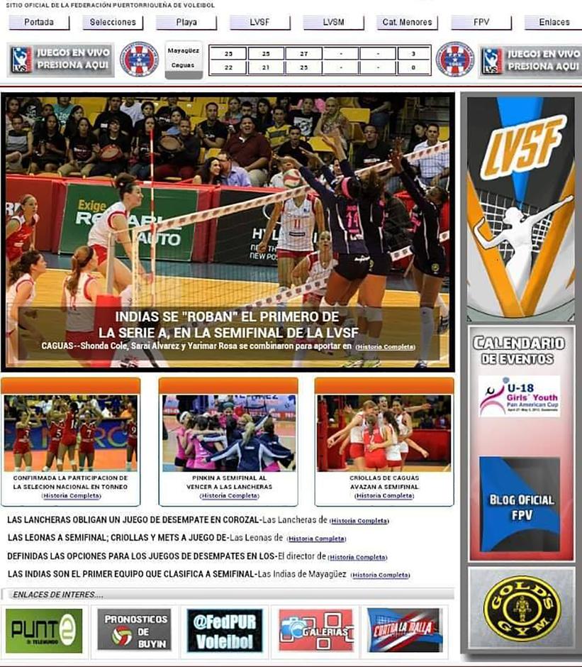 Portada de la web de Internet de la Federación Puertorriqueña De Voleibol del 2013 / Foto por Heriberto Rosario Rosa